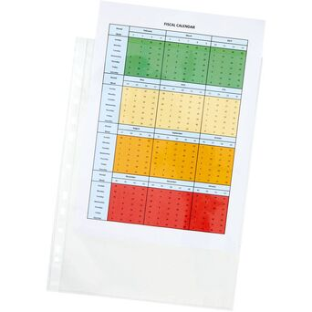 Staples Bolsa Perfurada, Standard Plus, A4+, 11 Orifícios, Polipropileno, 80 Mícrones, Suave, Transparente