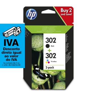 HP Tinteiro 302 Original, Preto e Tricolor, Embalagem de 2, X4D37AE