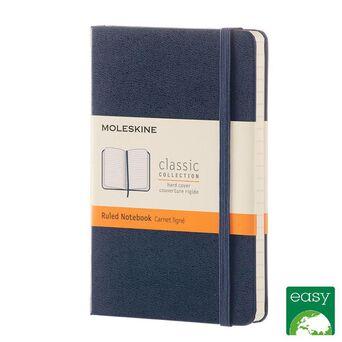 MOLESKINE Bloco de Notas Classic Hard Cover, 14 x 9 cm, 96 Folhas, Pautado, Capa Dura em Cartão, Azul Safira