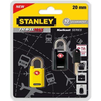 STANLEY Cadeado com Chave S742-064, 20 mm, Amarelo e Preto