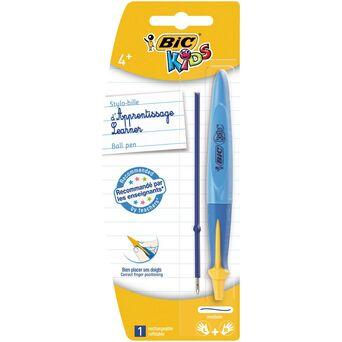 BIC Esferográfica Kids Aprendizagem, 1 mm, Ponta Média, Corpo Azul, Tinta Azul