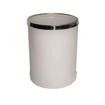 Papeleira Redonda, 320 x 250 mm, Chapa de Aço e Aço Inox, Branco