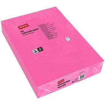Staples Papel Colorido, Burgo, Fotocopiadoras e Impressoras a Laser e a Jato de Tinta, A4, 80g/m², Rosa
