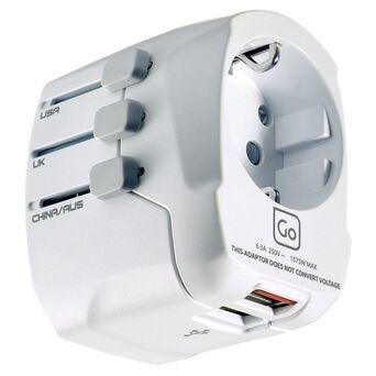 GO TRAVEL Adaptador de Corrente Europa - Mundo e USB, 72 x 55 x 58 mm, Branco