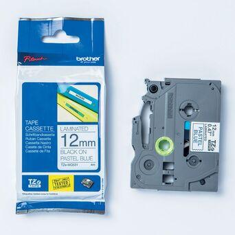 P-TOUCH Cassete de Fita para Etiquetas, 12 mm, Preto e Azul Pastel