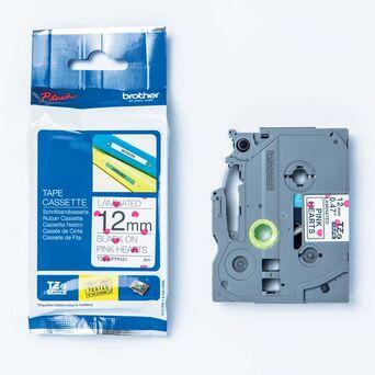 P-TOUCH Cassete de Fita para Etiquetas, 12 mm, Corações Preto e Rosa