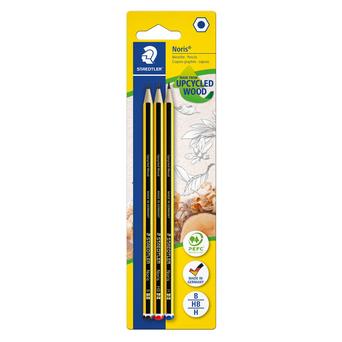 STAEDTLER Lápis de Grafite Noris 120, Minas B, H, HB, Corpo Hexagonal Amarelo e Preto