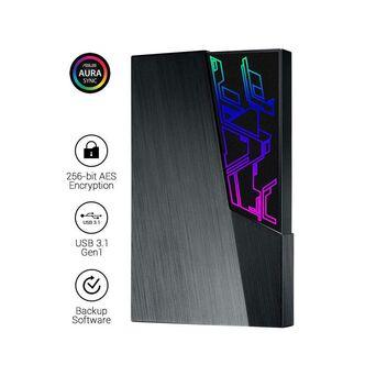 "ASUS Disco Externo Portátil 2.5"" FX Aura Sync, 2 TB, USB 3.1 Gen 1, Preto"