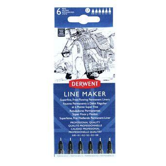 Derwent Marcador Fineliner, Ponta Super Fina de 0,05, 0,1, 0,2, 0,3, 0,5 e 0,8 mm, Corpo Preto, Tinta Preta, 6 Unidades