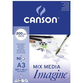 CANSON Bloco de Desenho Mix Media Imagine, A3, 200 g/m², 50 Folhas