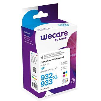Wecare Tinteiro refabricado, compatível com  HP 932XL B, 933XL C, 933XL M, 933XL Y, C2P42AE, preto, cyan, magenta, amarelo multipack