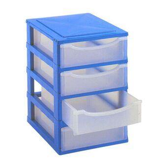 CLI Caixa Multibox com 4 Gavetas Pequenas, 34 x 26 x 40 cm, Azul e Transparente