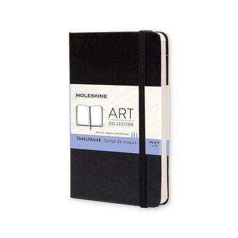 MOLESKINE Bloco de Desenho Classic Hard Cover Art Collection, 14 x 9 cm, 40 Folhas, Liso, Capa Dura, Preto