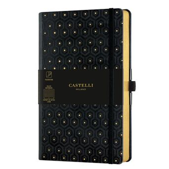 CASTELLI Bloco de Notas Honeycomb, 13 x 21 cm, 120 Folhas, Pautado, Capa Preta e Dourada