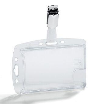 Durable Crachá Duplo com Mola, 54 x 85 mm, Transparente