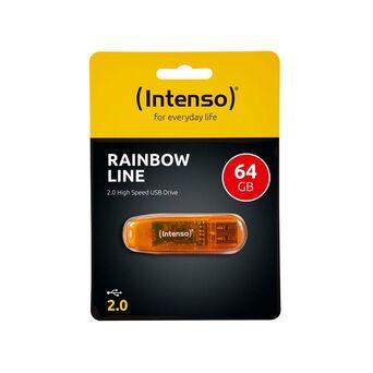 (Intenso) Disco USB Rainbow Line, USB 2.0, 64 GB, Laranja