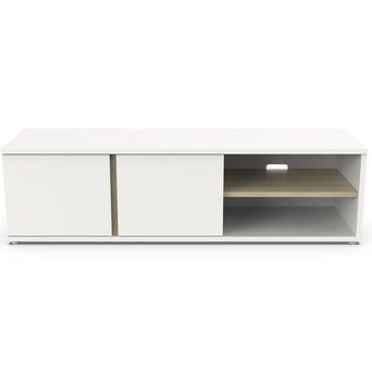 Móvel de TV Chiado, 45 x 41,5 x 149,5 cm, Aglomerado Superpan e MDF, Branco e Carvalho