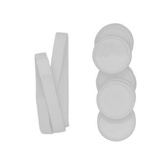 M by Staples Discos de Expansão para ARC Caderno Inteligente, 38,1 mm, Plástico, Branco e Elástico Branco para Caderno ARC