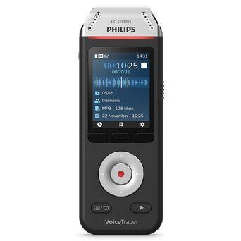 PHILIPS Gravador de Áudio VoiceTracer DVT2110, 2 Microfones, 8GB de Memória, Cinzento