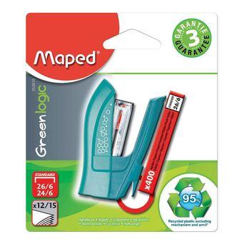Maped Mini Agrafador GreenLogic, Capacidade para 15 Folhas, Azul, com 400 Agrafos 26/6