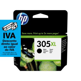 HP Tinteiro Original 305XL de Alto Rendimento, Preto, Embalagem Individual, 3YM62AE