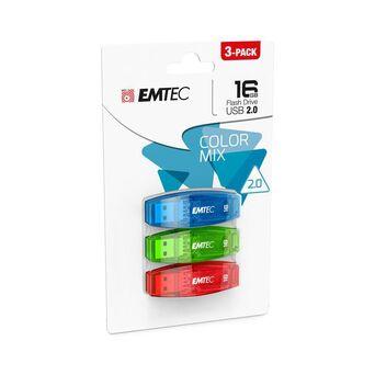 EMTEC Disco Flash Color Mix 2.0, USB 2.0, 16 GB, Azul, Verde e Vermelho