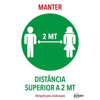 AVERY Etiqueta Adesiva Distância de Segurança 'Manter Distância Superior a 2m', A4