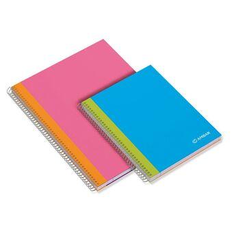 AMBAR Caderno Espiral School, A4,120 Folhas, Pautado, Várias Cores