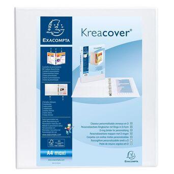 EXACOMPTA Dossier Kreacover® de 2 argolas em D de 40 mm, A4 Maxi, 370 folhas, Capas Personalizáveis, Lombada de Cartão com Polipropileno, Branco