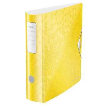 LEITZ Pasta de Arquivo Lombada Larga WOW, A4, Lombada de 75 mm, Capacidade para 500 Folhas, Polipropileno, Amarelo