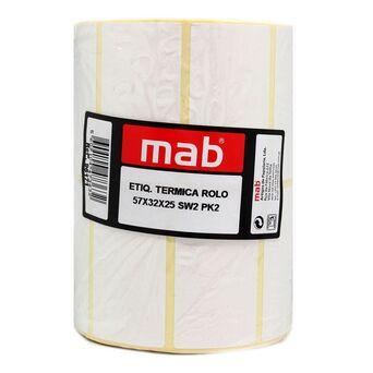 MAB Rolo de Etiquetas Térmicas, 57 x 32 x 25 mm, Branco, Embalagem de 2 Rolos