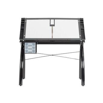 Mesa de Desenho Future, Inclinável até 35º, Cinzento, Tampo Vidro Temperado Transparente Azul