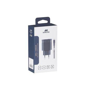 RIVACASE Carregador PS4123BD3, 3.4A, USB-A e USB-C, Preto