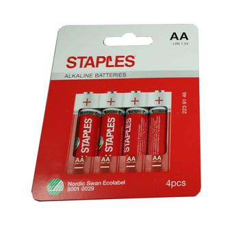 Staples Pilhas Alcalinas AA LR6, 1,5V, Pack 4 Unidades