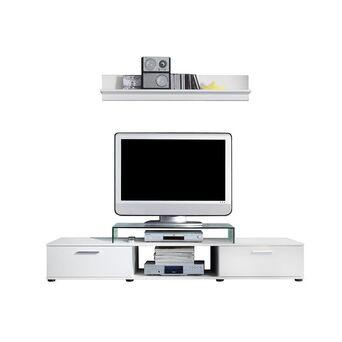 Móvel de TV e Prateleira Salsa, 176 x 27,5 x 40,2 cm, Aglomerado Madeira, Branco