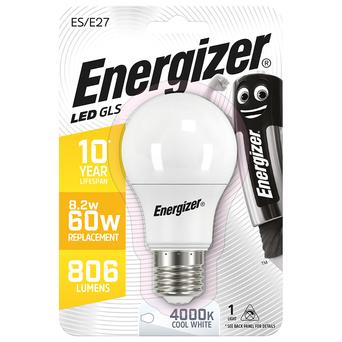Energizer Lâmpada LED GLS, E27, 806 Lúmenes, 4000 K, Luz Branca Fria