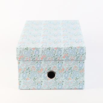 ANCOR Caixa de Arrumação Média Blog Flowers, Cartão, Azul