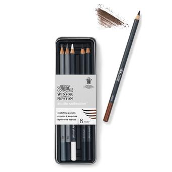 WINSOR  NEWTON Lápis de Esboço, 6 Cores Sortidas