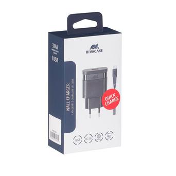 RIVACASE Carregador com Cabo USB-A/USB-C 3.0A, Universal,  Preto