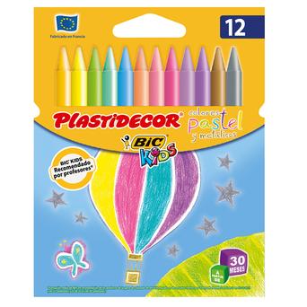 BIC Lápis de Cera Kids Plastidecor®, Cores Pastel, 12 Unidades