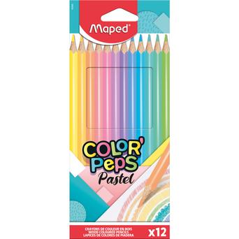 Maped Lápis de Cor Color'Peps, Minas de Várias Cores Pastel, Pack 12 Lápis