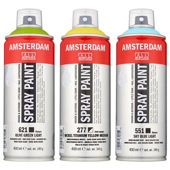 AMSTERDAM Tinta em Spray, Tinta à Base de Água, 400 ml, Amarelo Fluorescente (256)