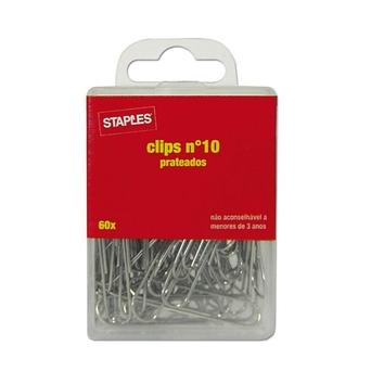 Staples Clipes de Papel Nº. 10, Aço Galvanizado, Prateado, Embalagem de 60 Unidades