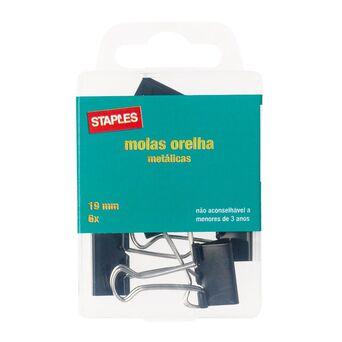 Staples Mola de Orelha Metálica, 19 mm, Embalagem de 6 Unidades
