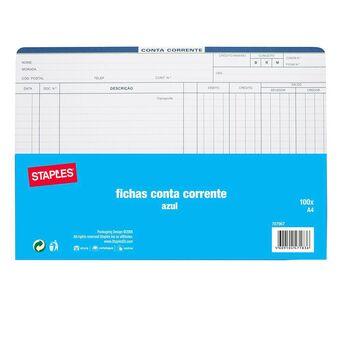 Staples Fichas de Conta Corrente, A4, 210 x 297 mm, 120 g/m², Azul, 100 Unidades