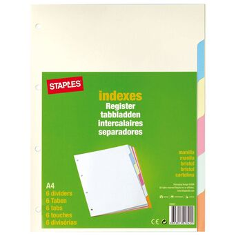 Staples Separador em Branco, Cartão, 6 Secções, A4, Várias Cores Pastel