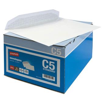 Staples Envelope Comercial, International C5, 162 x 229 mm, Gomado, Branco