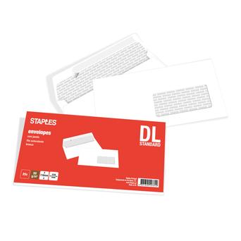 Staples Envelope Comercial, International DL, 110 x 220 mm, Com Janela, Retirar e Fechar, Papel, Branco