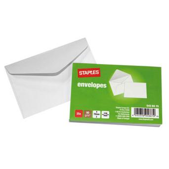 Staples Envelope Comercial, 110 x 72 mm, Gomado, Papel, Branco