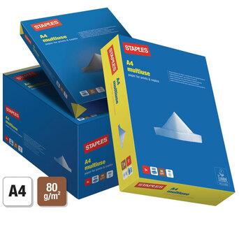 Staples Papel Multiusos para Laser, Jacto de Tinta, Fotocopiadoras e Fax A4 80 g/m² Branco (Caixa 5 Resmas)